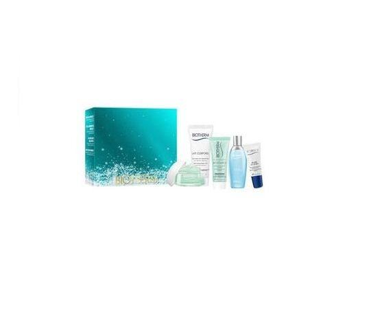 Biotherm Aquasource zestaw Rich Cream 15ml + L'Eau The Energizing Fragrance 15ml + Anti-Drying Body Milk 40ml + Purifying Foaming Clranser 20ml + Lip Balm 5ml