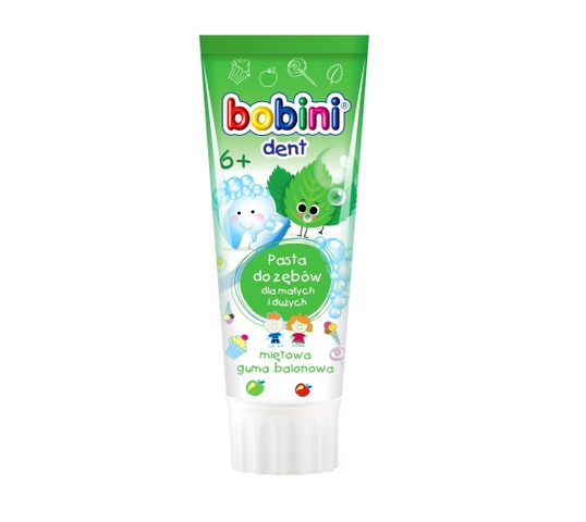 Bobini Dent pasta do zębów dla małych i dużych powyżej 6-go roku życia Miętowa guma balonowa 75ml