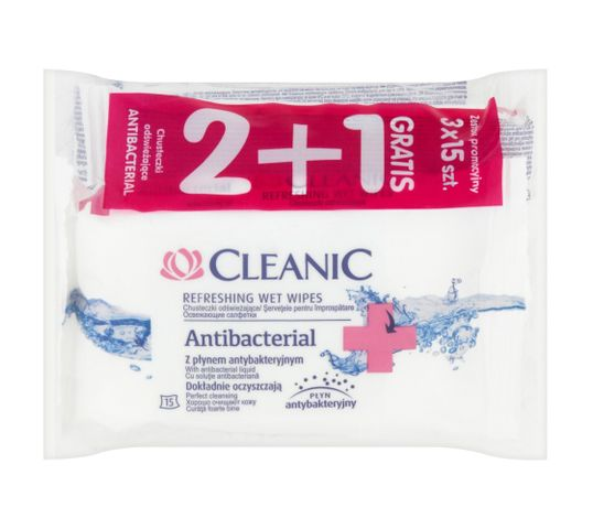 Cleanic Chusteczki Antibacterial odświeżające do twarzy 2+1 gratis 1 op - (3 x 15 szt)