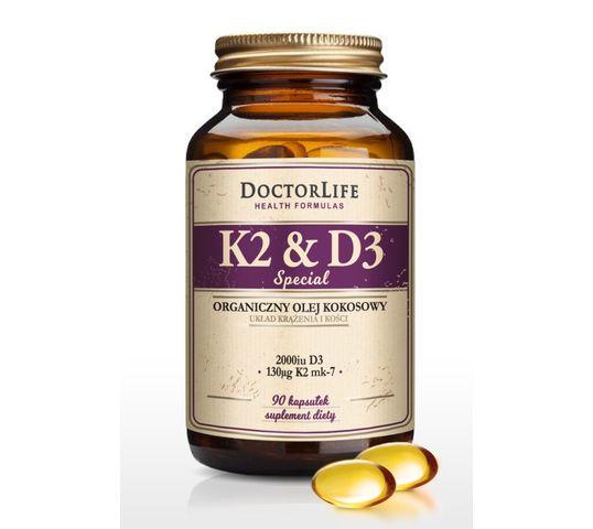 Doctor Life K2 & D3 organiczny olej kokosowy 130ug K2 mk-7 & 2000iu D3 suplement diety 90 kapsułek