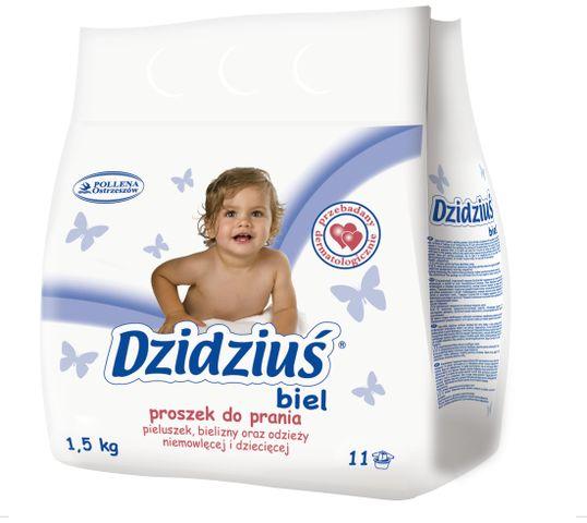 Dzidziuś proszek do prania pieluszek bielizny odzieży niemowlęcej biel 1.5 kg