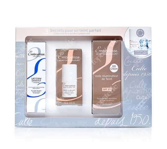 Embryolisse Laboratoires Secret For A Perfect Complexion SPF20 zestaw odżywczo-nawilżający krem do twarzy 30ml + sztyft chłodzący pod oczy 4.5g + krem BB z filtrem 30ml