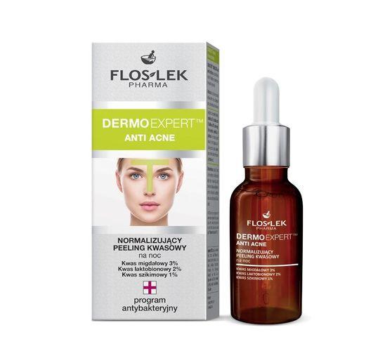Floslek Pharma Dermo Expert Anti Acne Peeling kwasowy normalizujący na noc do twarzy 30 ml