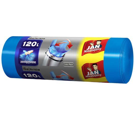 Jan Niezbędny worki na śmieci easy pack niebieskie 120 L 15 szt.