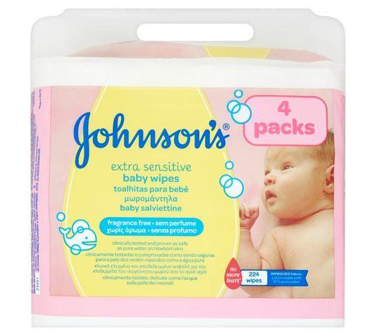 Johnson's Baby Extra Sensitive Baby Wipes łagodne chusteczki oczyszczające dla niemowląt 4x56szt