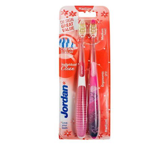Jordan Duo Individual Clean Medium szczoteczka do zębów  - mix kolorów  1 op- 2 szt.