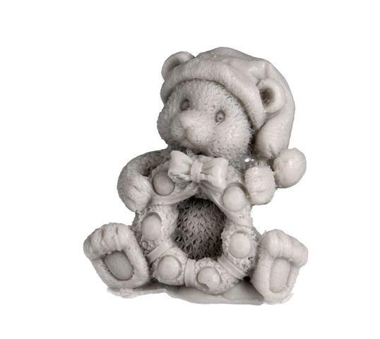 LaQ Happy Soaps – mydełko glicerynowe Miś z Wiankiem – szary (90 g)