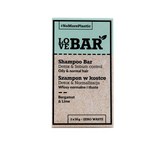 Love Bar Shampoo Bar szampon w kostce do włosów normalnych i tłustych Bergamotka & Limonka (2x30 g)