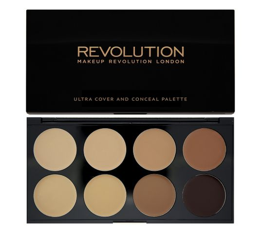 Makeup Revolution Ultra Cover and Conceal Palette - korektory  Medium Dark pod oczy i do twarzy (10 g)