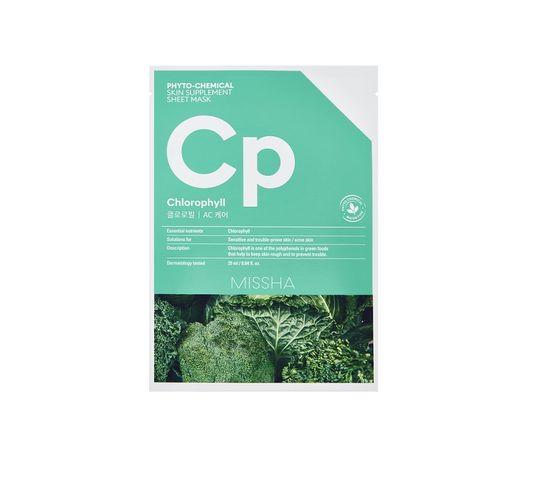 Missha Phyto - Chemical Skin Supplement Sheet Mask kojąca maska w płachcie na twarz Chlorophyll 25ml
