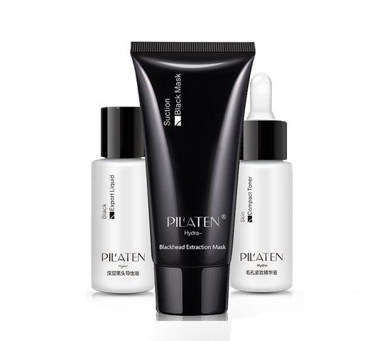 Pilaten Blackhead Extraction Triple Suite zestaw Blackgead Export Liquid płyn do twarzy 30ml + Blackhead Extraction Mask maska do twarzy 60g + Skin Compact Toner płyn tonizujący 30ml