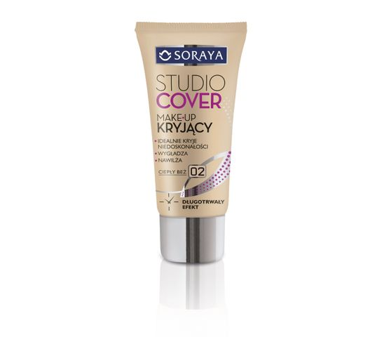 Soraya Studio Cover Make-up podkład do twarzy kryjący 02 ciepły beż 30 ml