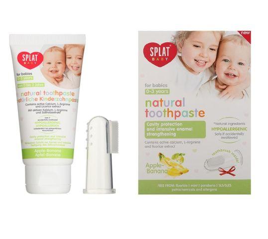 Splat Natural Toothpaste For Babies naturalna pasta do zębów dla dzieci z silikonową szczoteczką na palec Apple & Banana 40ml